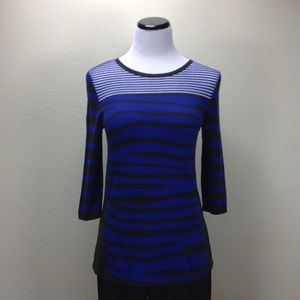 Investments Blue Black & Silver 3/4 Sleeve…